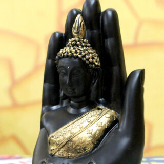 Black & Gold-Toned Handcrafted Buddha Showpiece