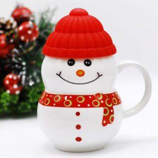 snowman red mug