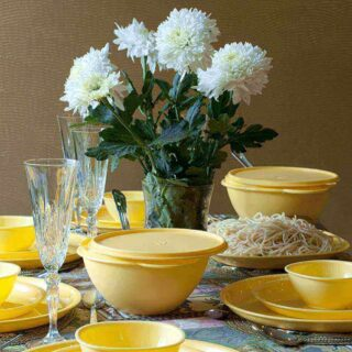 24 Piece Yellow Dinner Set