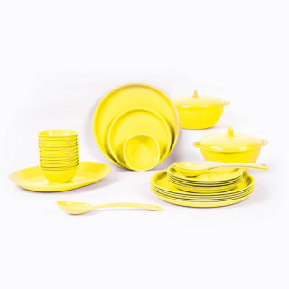 32 Piece Round Dinner Set Yellow