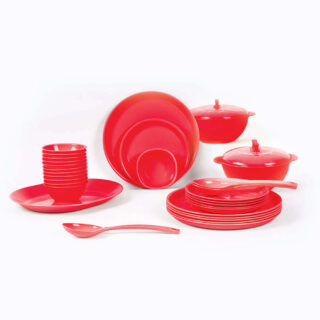 32 Piece Round Dinner Set Red
