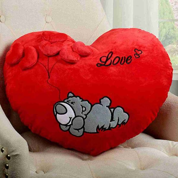 Heart Shaped Sleeping Dog Printed with Cute Little Hearts Pillow